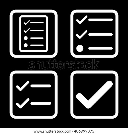 Valid vector icon. Image style is a flat icon symbol inside a square rounded frame, white color, black background. - stock vector