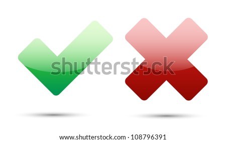 validation icons with drop gray shadow on white background - stock vector