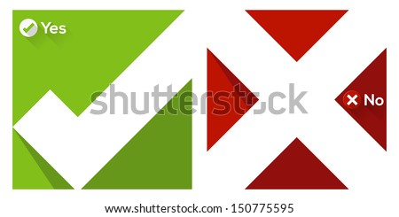 Validation sign flat icon with long shadow - stock vector