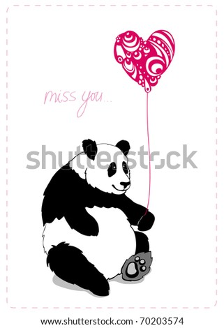 Valintine greeting card with lovely panda with pink heart0shaped baloon - stock vector