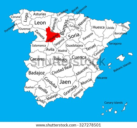 Valladolid Map Spain Province Vector Map Stock Vector 2018
