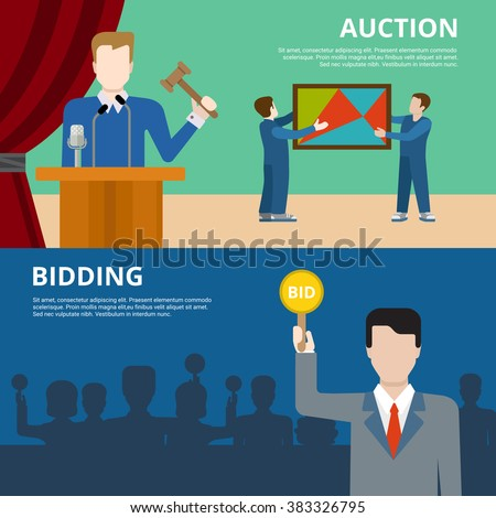 Valuable art object culture auction bidding concept flat web banner vector illustration. Picture in frame  auctioneer barker bidder buyer. Creative people collection. - stock vector