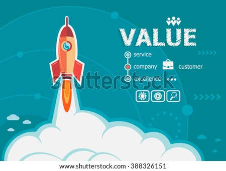Value and concept background with rocket. Project Value concepts for web banner and printed materials. - stock vector
