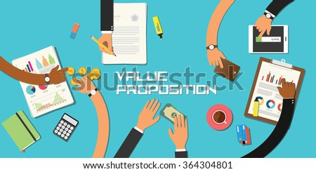 value proposition concept team work business marketing together with hand and table - stock vector