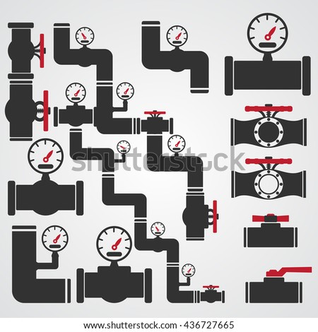 Valve Gas Pipe Taps Icon Set, Valve red Icon Vector Illustration - stock vector