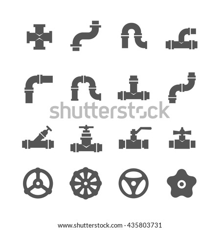 Valve, taps, pipe connectors, pipe details vector icons set. Set of pipe and tube with valve illustration - stock vector
