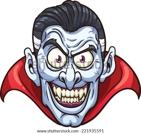 Vampire face. Vector clip art illustration with simple gradients. All in a single layer. - stock vector