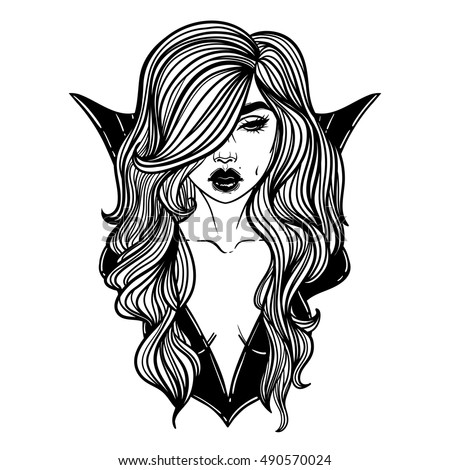 Vampire girl line art hand drawn vector illustration black line on white background