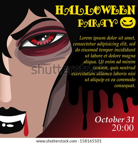 Vampire Halloween party invitation template with vampire princess - stock vector