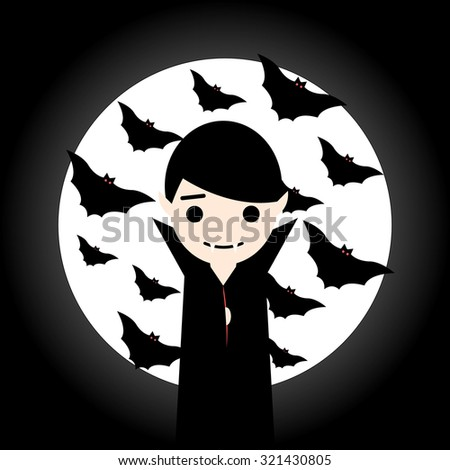 Vampire on background of the moon. Halloween Vector EPS10 - stock vector