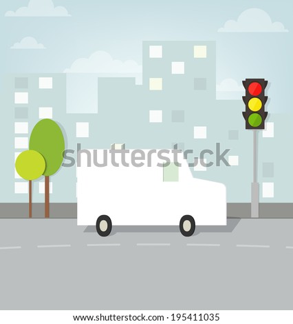 van drives up to the traffic lights in the city - stock vector