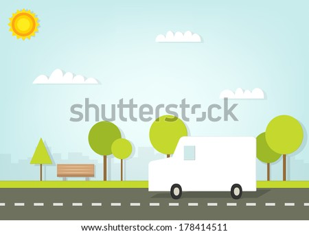 van driving on road outside the city - stock vector
