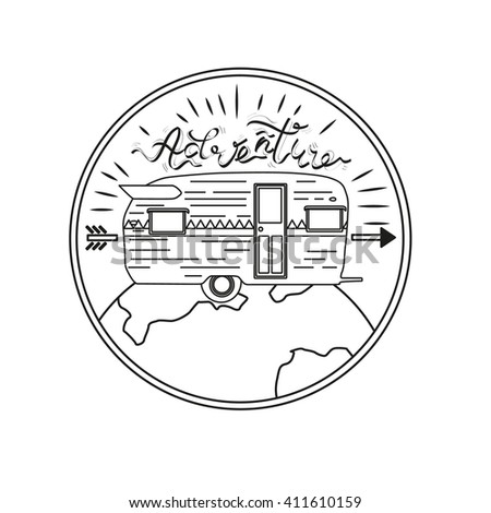 Van for travel, planet logo emblem. Vector illustration monochrome