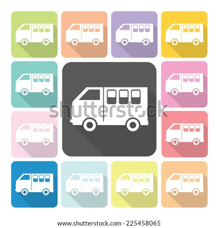 Van Icon color set vector illustration. - stock vector