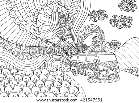 Van Line Art Design Coloring Book Stock Vector 421547551 ...