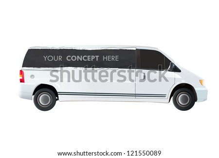 Van with publicity printed. Vector design. - stock vector