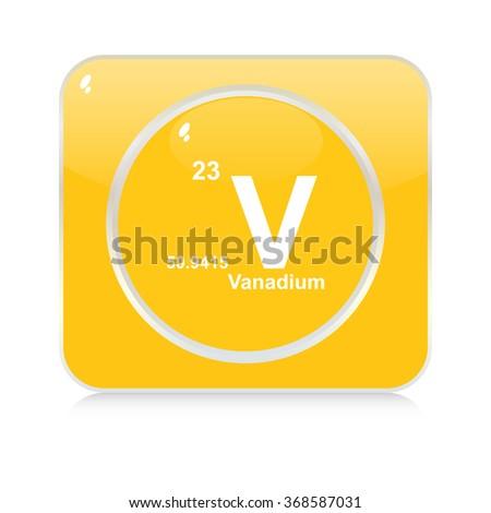 vanadium chemical element button - stock vector