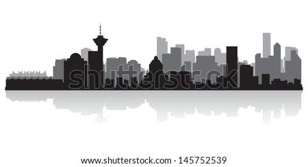 Vancouver Canada city skyline silhouette vector illustration - stock vector