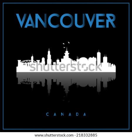 Vancouver, Canada, skyline silhouette vector design on black background. - stock vector