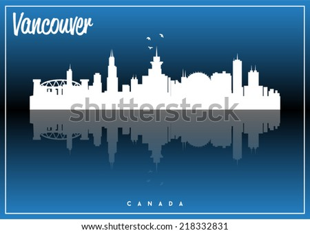 Vancouver, Canada, USA skyline silhouette vector design on parliament blue background. - stock vector
