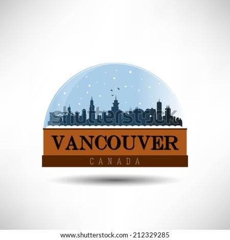 Vancouver, United States of America city skyline silhouette in snow globe. Vector design. - stock vector