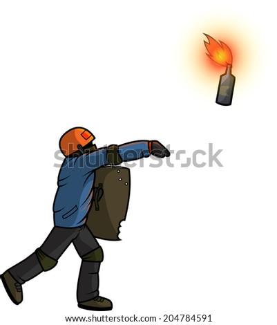 Vandal throws Molotov cocktail - stock vector