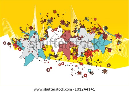 Vanilla flowers with bright abstract background - stock vector