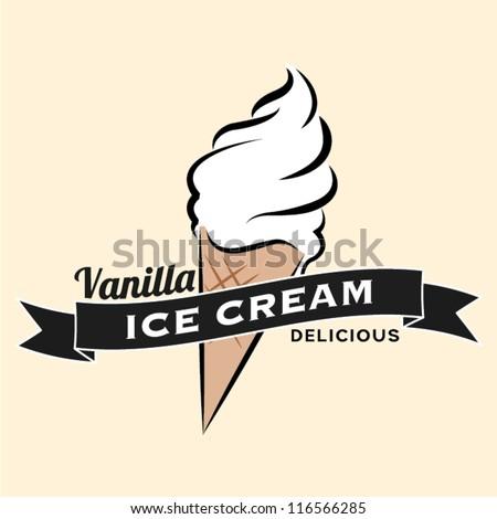 Vanilla ice cream vintage retro label - stock vector