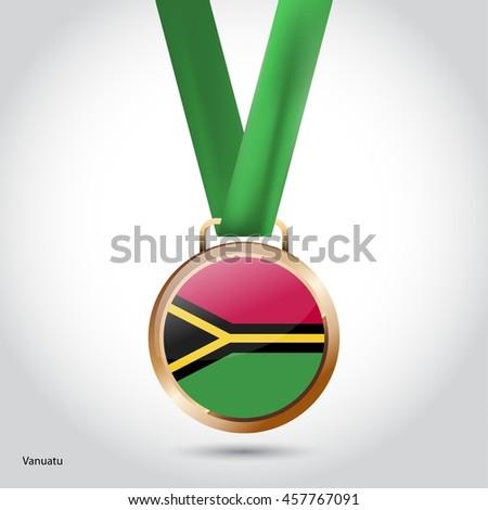 Vanuatu Flag in Bronze Medal. Vector Illustration - stock vector