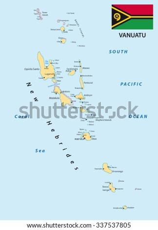 Vanuatu Map Capital Port Vila Republic Stock Vector - Vanuatu map