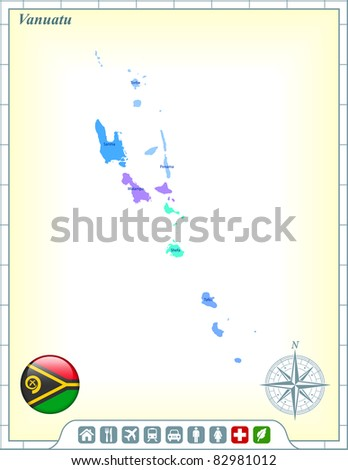 Vanuatu Map with Flag Buttons and Assistance & Activates Icons Original Illustration - stock vector