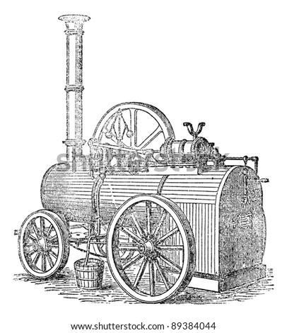 Vapor or Steam machine, vintage engraved illustration. Magasin Pittoresque 1875. - stock vector