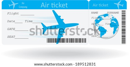 Variant of air ticket isolated on white. Vector illustration - stock vector
