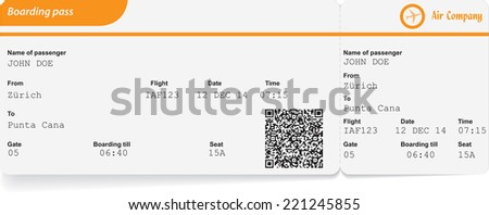 Variant of boarding pass isolated on white. Vector illustration - stock vector
