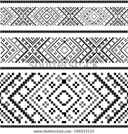 Variants of the ethnic ornament - black&white - stock vector