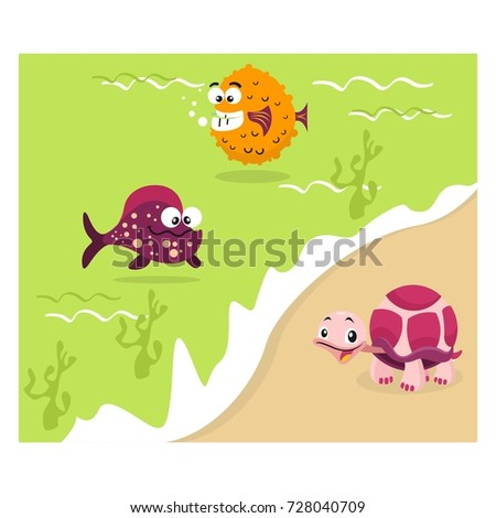 variation of fish and turtle together in the green beach cartoon character