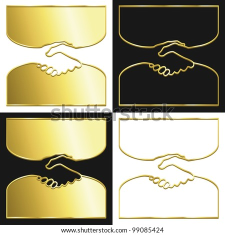 Variations of a handshake symbol in gold.