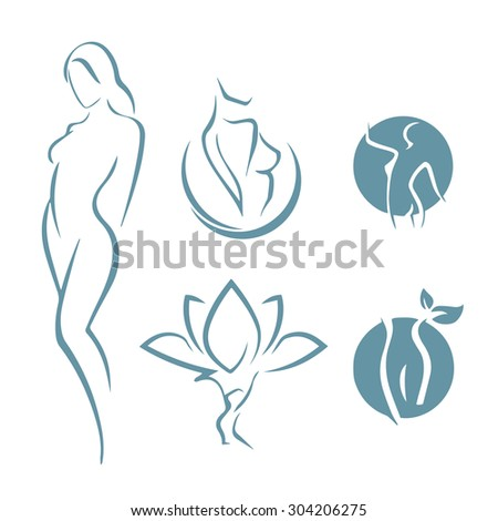 Variations of beautiful nude woman silhouette - stock vector