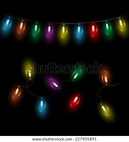 Variations of multicolored glassy led Christmas lights garlands on black background - stock vector