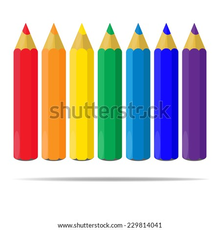 Varicolored color pencils set isolated on white background. Rainbow. Office supplies. - stock vector