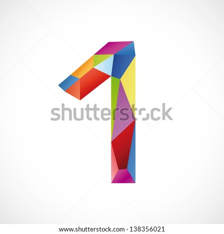 Varicolored number 1. Vector illustration - stock vector