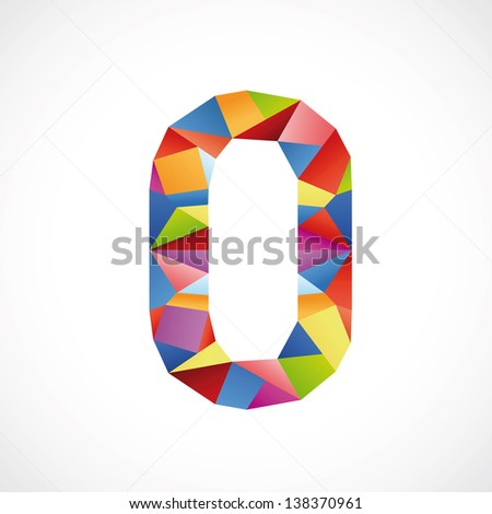 Varicolored number 0. Vector illustration - stock vector