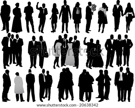 variety business people silhouettes - stock vector