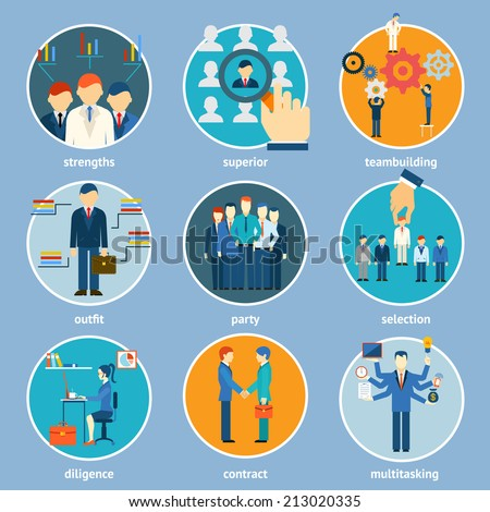 Variety Human Resource Icons Isolated on Light Blue Background. - stock vector