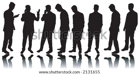 Variety of business men silhouettes - stock vector