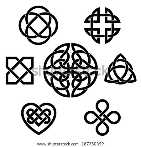Variety of celtic knots. Set of seven traditional celtic infinity knot vector elements. - stock vector