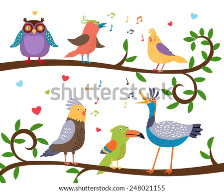Variety of colorful birds sitting on a tree branch with leaves and tweeting. Vector illustration - stock vector