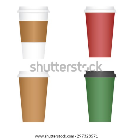 Variety of four 4 coffee to go paper cups - stock vector