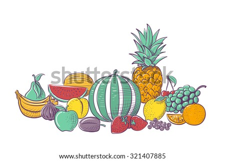 Variety of fresh fruits isolated on white background, vector illustration - stock vector