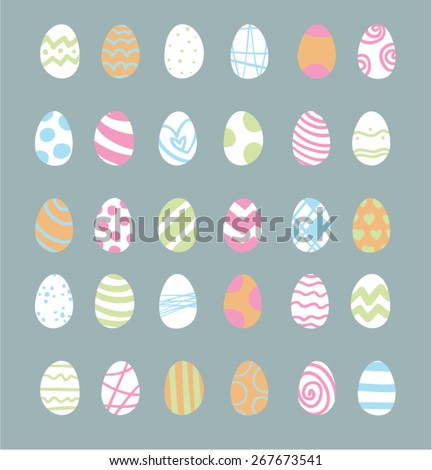 Variety of minimalistic vector easter eggs - stock vector